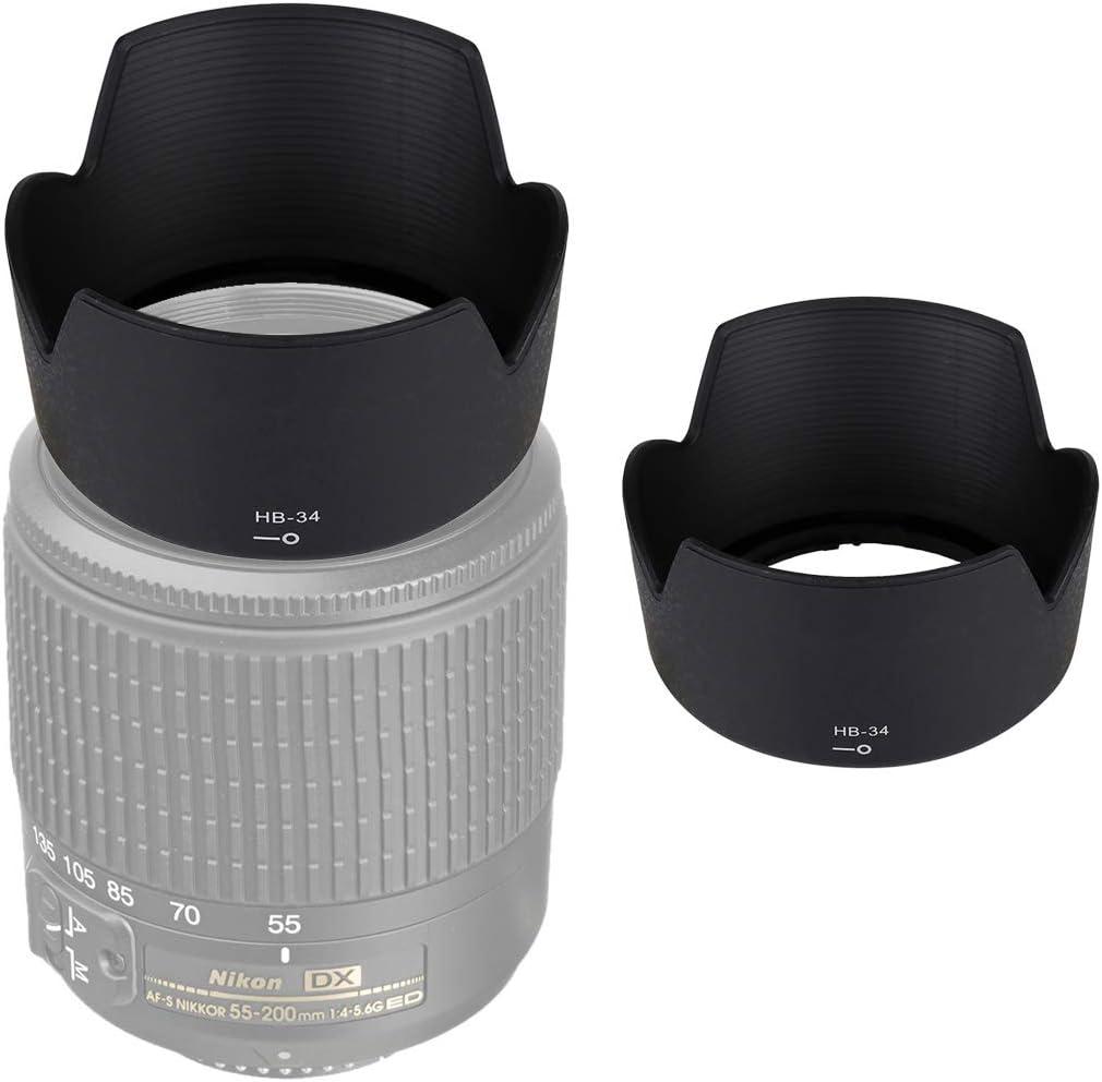 HoodensYHM HB-34 Lens Hood Shade for Nikon 55-200mm f//4-5.6 G ED Lens
