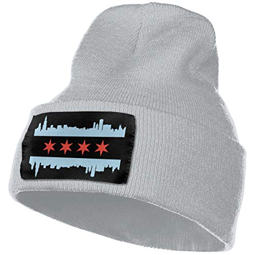WHOO93@Y Mens Womens 100% Acrylic Knitted Hat Cap, Chicago Flag Skyline Soft Beanie Hat -