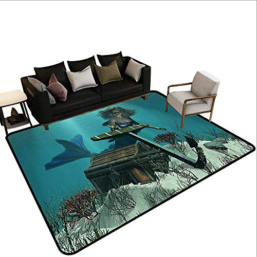 Rectangular Rug Mermaid Decor A Mermaid in The Ocean Sea Discovering Pirates Treasure Chest Mythical Art Print Children Crawling Bedroom Rug3'11 x5'10 Azure Brown Cream
