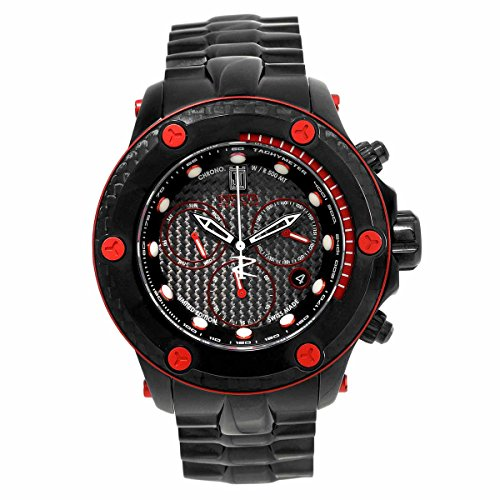 Invicta 17831 Men's Jason Taylor Red Accented Bezel Black IP Steel Bracelet Chrono Dive Watch