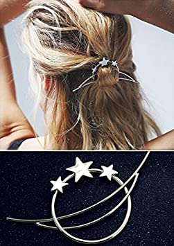 Minimalist Romantic Crescent Moon Star Starry Sky Set Pierced Barrette Hair Fork Stick Slide Tuck Comb Clip Shawl Scarf Pin Brooch Hairpin Styling Ponytail Holder Bun Maker Tool Accessories GIFT