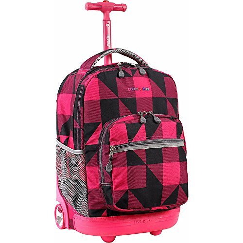 2017 Back-to-School Popular Backpacks Teens & Tweens - J World New York Sunrise Rolling Backpack, Block Pink