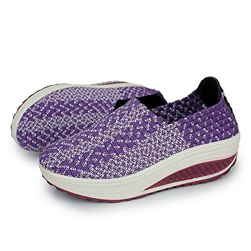 XiaoYouYu Women's Shape Ups Toning Fitness Walking Shoes Sneaker Purple KslBeJU