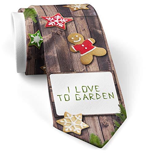 His Christmas NeckTie I Love To Garden Fern Plant Flower cookie wood print (Garden Wood Fern)