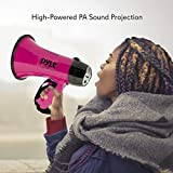 Portable Megaphone Speaker Siren Bullhorn - Compact and Battery Operated with 20 Watt Power, Microphone, 2 Modes, PA Sound and Foldable Handle for Cheerleading and Police Use - Pyle PMP24PK