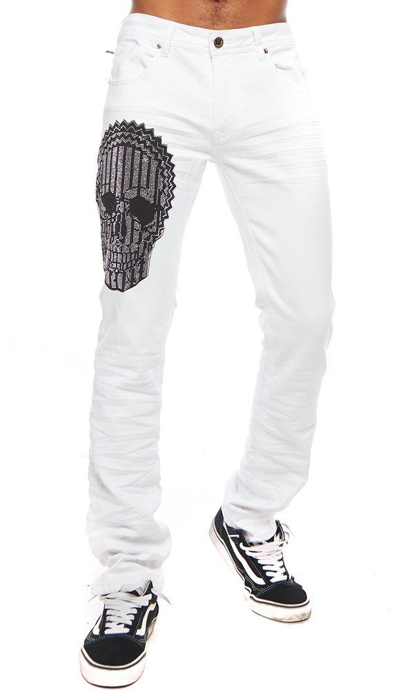 ''Glass Skull'' Gold Leaf White Jeans 38 by Barabas