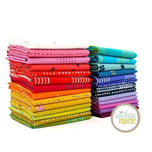 Chroma Fat Quarter Bundle (27 pcs) - Alison Glass - Andover 18 x 21 inches (45.72cm x 53.34cm) fabric cuts DIY quilt - Glasses E Chroma
