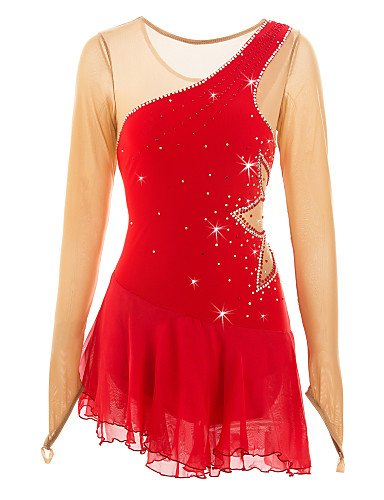 Skating Queen Figure Skating Dress for Girls Women Ice Skating Competition Performance Costume Rhinestone Leaf Pattern Elastic Handemade Long Sleeves Classic Skating Wear Red, child 14