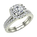 Round Cut Diamond Cushion Halo Engagement Ring with Wedding Band 1.40 carat total weight 14K White Gold (Ring Size 7.5)