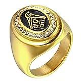 ZNKVJ Titanium Steel Men's Retrol Religious AG Masonic Diamond Rings,Size 14