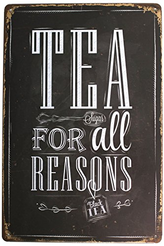 - Sumik Tea For All Reasons Metal Tin Sign, Vintage Art Poster Plaque Kitchen Living Room Bar Home Wall Decor