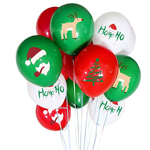 50 Pieces Christmas Latex Balloons - 12 Inch Red Green White Balloons for Christmas Party Decorations, School Classroom Game, Kids Giveaway