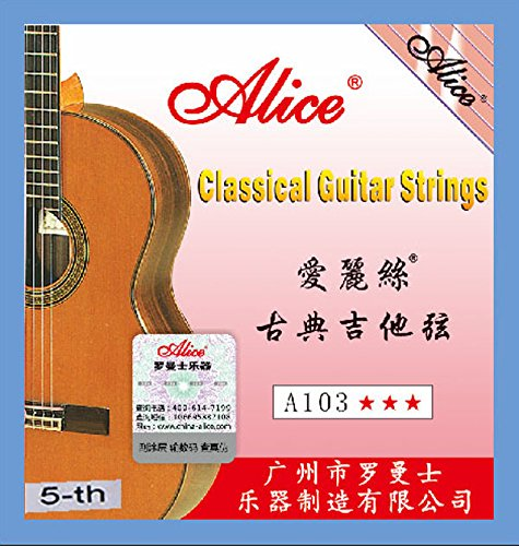 10pcs Alice A103 Clear Nylon Silver Plated 1st 2nd 3rd 4th 5th 6th EBGDAE Single Classical Guitar Strings (5th)