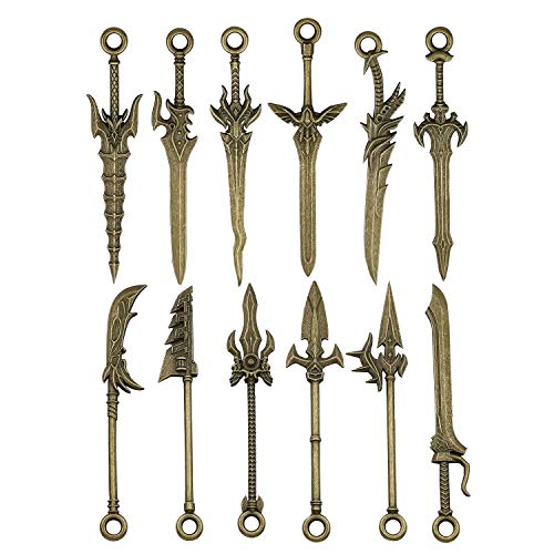 iloveDIYbeads 12pcs Craft Supplies Double Side Metal Weapon Sword Spear Lance Knife Charms Pendants for Crafting, Jewelry Findings Making Accessory for DIY Necklace Bracelet M189