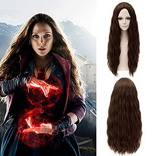 Xcoser Avengers Scarlet Witch Wanda Maximoff Cosplay Wig Brown Wavy Hair -