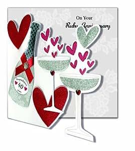 "Second Nature - Tarjeta de felicitación para 40 aniversario de boda, diseño de copas y botella de champán con texto en inglés ""On your rubby anniversary"""