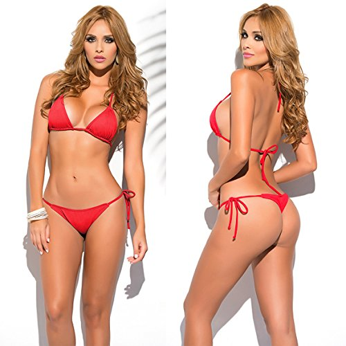 For S XL Swimsuit Bikini Solid Set Women's Tanga Thong Color SHERRYLO Red Body String 10 zRwPSpqzWv