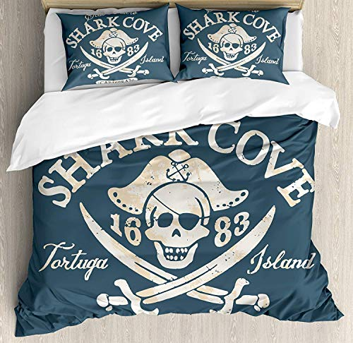 Pirate Bedding Set, Shark Cove Tortuga Island Caribbean Waters Retro Jolly Roger, 4 Piece Duvet Cover Set Bedspread for Childrens/Kids/Teens/Adults, Slate Blue White Light Mustard Full Size