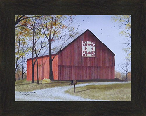 Amish Star Quilt Block Barn by Billy Jacobs 16x20 Red Barn Country Landscape Primitive Folk Art Print Framed Picture (2 Inch Espresso)