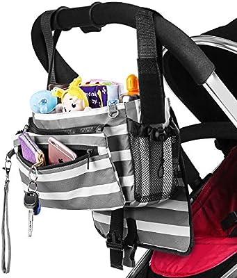 Organizador de cochecito de bebé con portavasos Bolsa de almacenamiento para cochecito de bebé que se puede utilizar como una bolsa de hombro