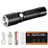 Zglon Super Bright LED Tactical Flashlight 1000 Lumens with 7 Modes High Powered Handheld LED Tac Light with Zoomable Adjustable Focus, USB Charger 18650 Rechargeable Battery