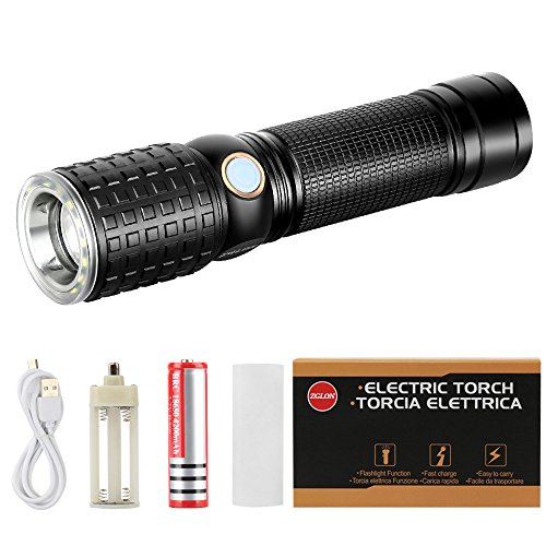 (Zglon Super Bright LED Tactical Flashlight 1000 Lumens with 7 Modes High Powered Handheld LED Tac Light with Zoomable Adjustable Focus, USB Charger 18650 Rechargeable Battery)