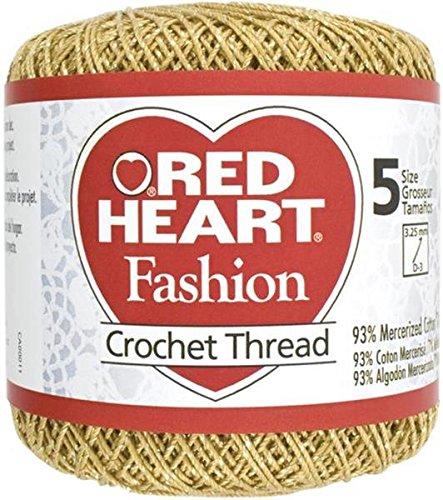 Coats Crochet Red Heart Fashion Crochet, Thread Size 5, Gold/Gold