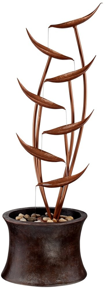 Tiered Copper Leaves Indoor Outdoor 41'' High Fountain