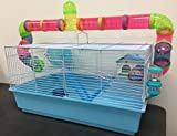 New Large Long Crossing Tube Habitat Hamster Rodent Gerbil Mouse Mice Cage 5.5'' Deep Tray