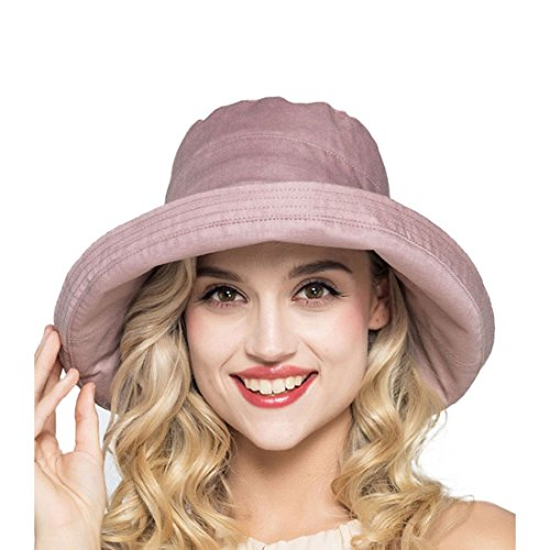 LLmoway Women Fishing Hat Outdoor Cotton Packable Bucket Hats Large Brim Summer Fold Up Hat Rose ()
