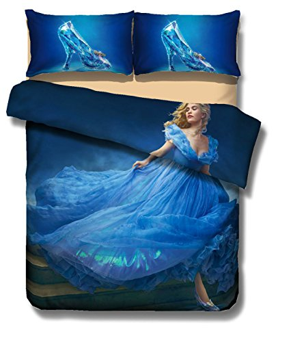 3D Cinderella Cartoon Bedding Sets - MeMoreCool Polyester Reactive Printing No Fading No Filler Only Cover American Size Queen 3PC