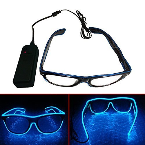 El Wire Neon LED Light Up Shutter Shaped Glasses For Rave Costume Party Blue (Best Haloween Costumes)