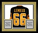 Framed Mario Lemieux Pittsburgh Penguins Autographed Black Mitchell & Ness Jersey with Multiple Inscriptions - Fanatics Authentic Certified