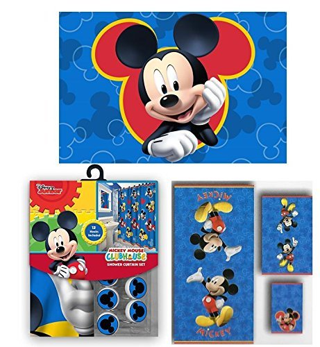 Disney Marvel New Shower Curtain & Hooks & Bath Towel & Memory Foam Mat Set (Mickey Mouse, 17pcs Set) by Disney & Marvel