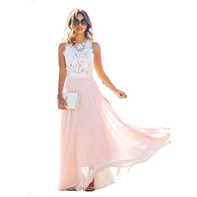 1c247afc5703 Women Summer Lace Maxi Long Dress Evening Party Prom Dress Sundress Chiffon  Dress  Amazon.ca  Clothing   Accessories
