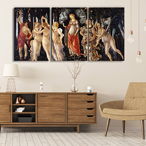 wall26 3 Panel World Famous Painting Reproduction on Canvas Wall Art - Spring by Sandro Botticelli - Modern Home Decor Ready to Hang - 24