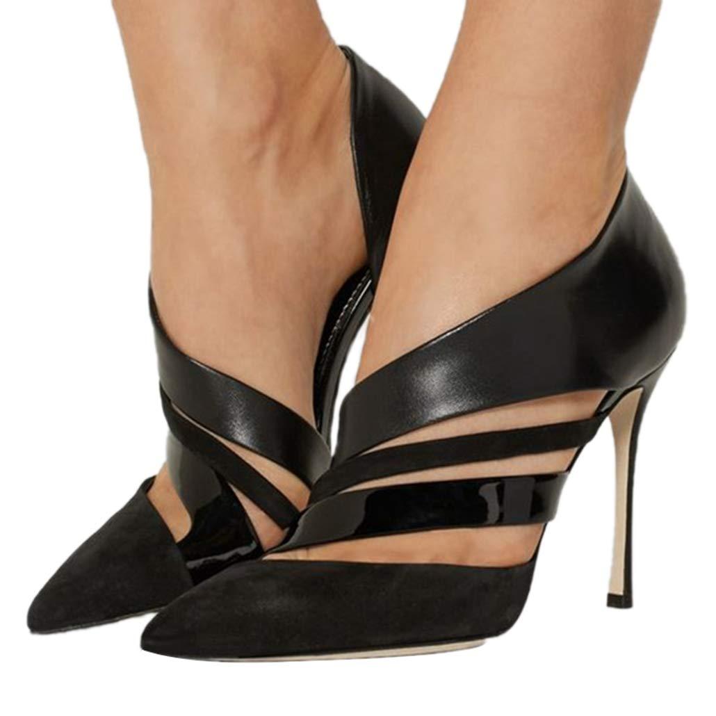 Party Schuhe Sandaletten mit hohem Absatz Pumps Damen Patchwork Slip On Kleid Spitz Stiletto für Frauen