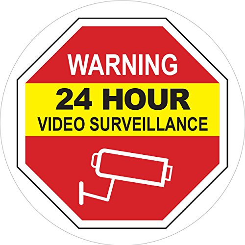 Video Surveillance Warning Sign - Inside Window Static Cling Decal for Home & Business - 5 x 5 in.