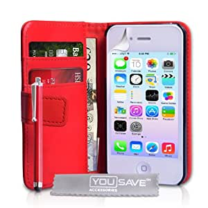 Yousave Accessories Cover- Funda para móvil iPhone 4/4S, rojo