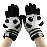 Greenery Cute Winter Wool Touchscreen Gloves Mitten, iPhone Gloves, Texting Gloves for Girls/Ladies, Great Gift for Christmas Day/ New Year (Black White Panda)