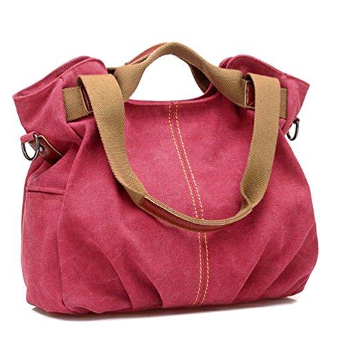 Bolsa De Khaki Big Bag Súper Bags Pocket Shoulder Diagonal Hand Viaje Shtbo Multi Red Práctico Pleated Casual wyUFAXqZS