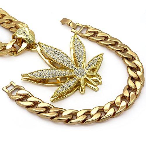 Mens HQ Gold Tone Large Marijuana Hip Hop Pendant w/ 14mm-30
