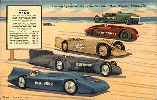 Famous Speed Racers on the Measured Mile Daytona Beach, Florida Original Vintage Postcard