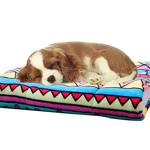 Pet Blanket Bed Mat Washable - Soft Fleece Crate Pad for Small Medium Large Dogs(Geometric,L(28''x22''))