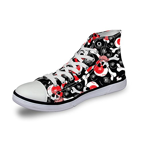 Per Te Disegni Scarpe Di Tela High-cut Sneaker Stagione Lace Up Scarpe Cranio Scarpe Da Ginnastica Casual Per Donna Skull-17