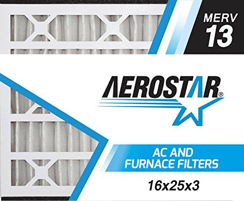Aerostar 16x25x3 MERV 13, Air Bear Replacement Pleated Air Filter, 16x25x3, Box of 3