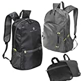 RoryTory 2pc Black Gray Ultra Lightweight Water Resistant Hiking Backpack Combo