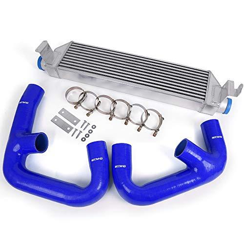 (Blue Hose Pipe + Twin Intercooler Kit Upgrade Fit For Volkswagen Golf R GTI MK7)