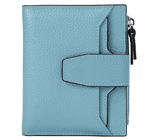 Women's RFID Blocking Leather Small Compact Bi-fold Wallet