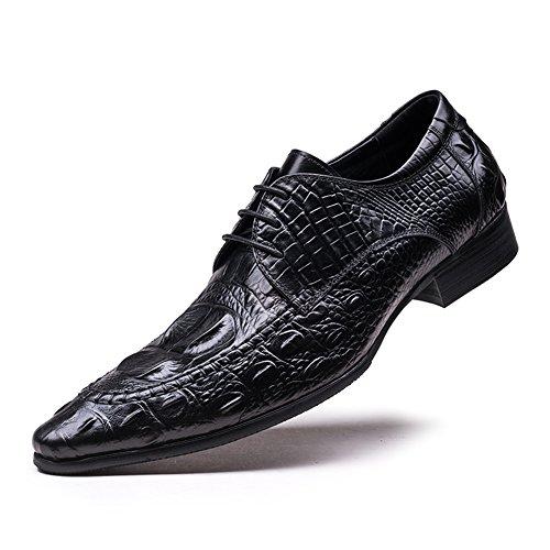 Shoes Leather Santimon Men's Oxford Grain Dress Alligator Black nY6Z687qw